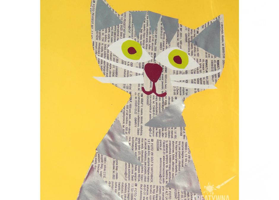 Kot z gazety- kreatywna praca plastyczna