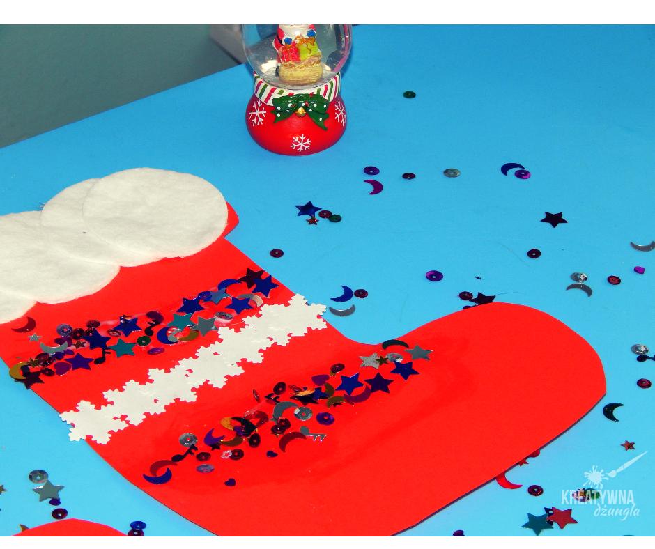 Skarpeta na prezenty- praca plastyczna