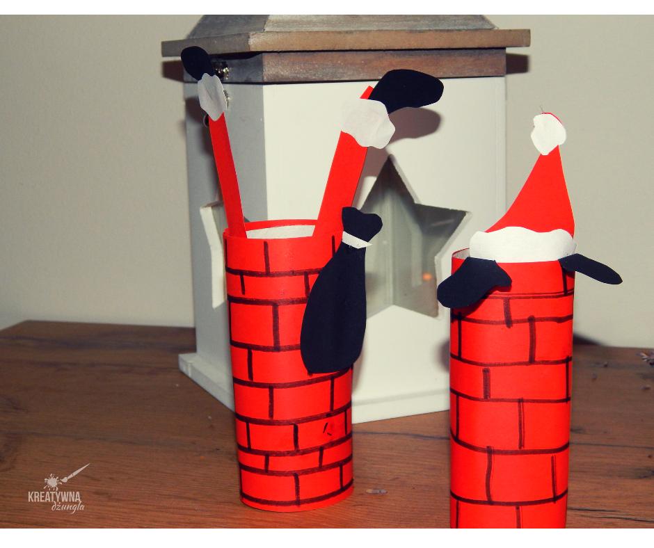 Wesoły Mikołaj z rolki po papierze toaletowym