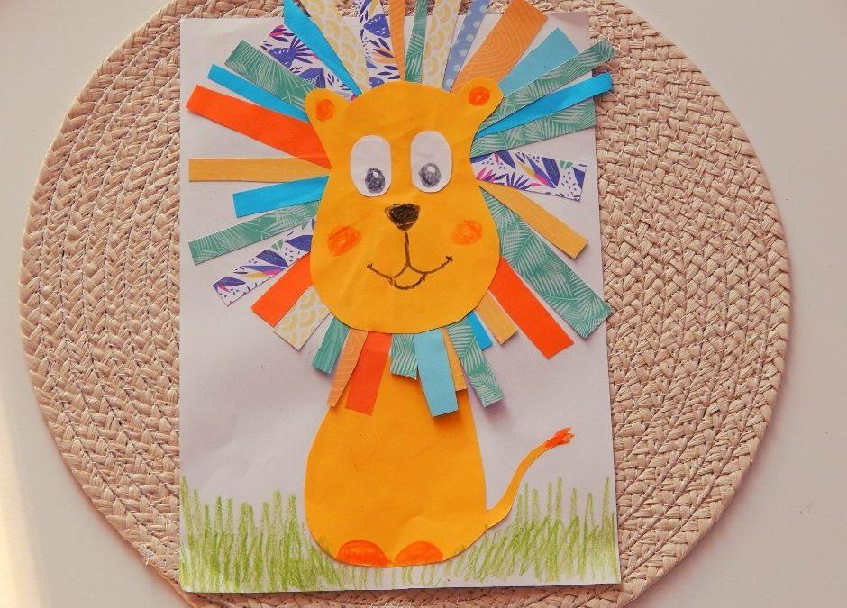 Praca plastyczna- lew z kolorową grzywą