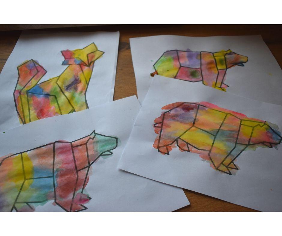 kolorowanki zwierzęta geometryczne