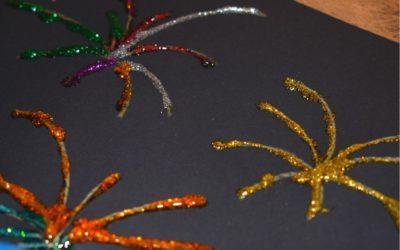 Brokatowe fajerwerki- praca plastyczna