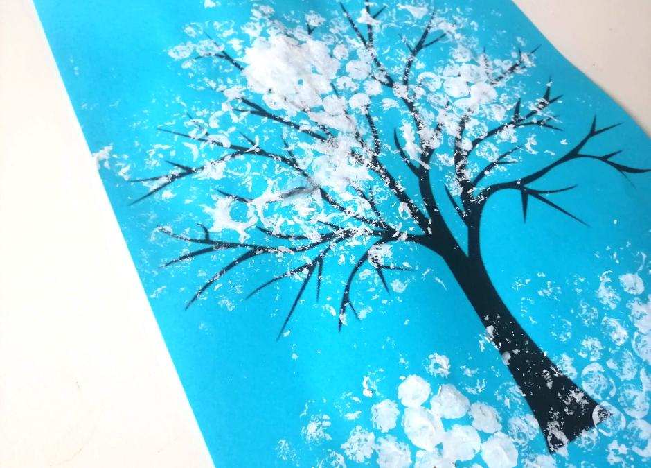 zimowe drzewo prace plastyczne