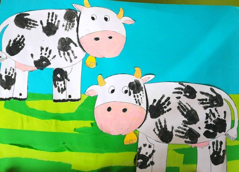 na wsi krowa praca plastyczna