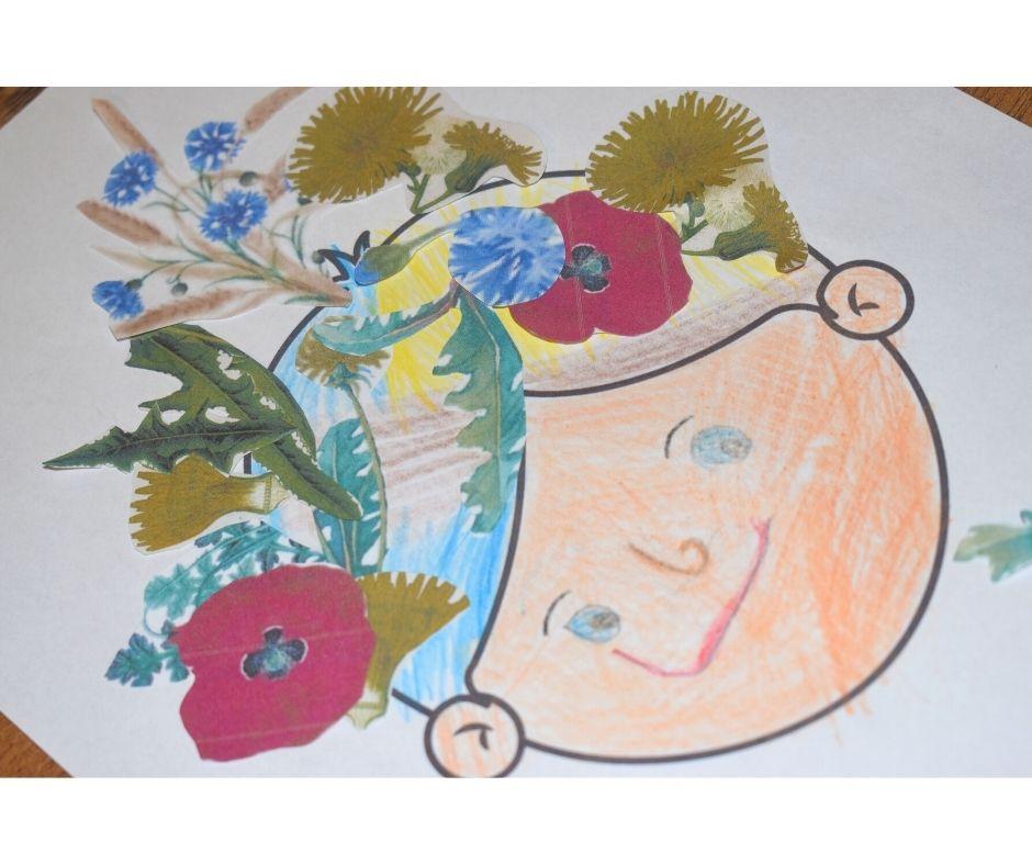kwiaty praca plastyczna twarz szablon