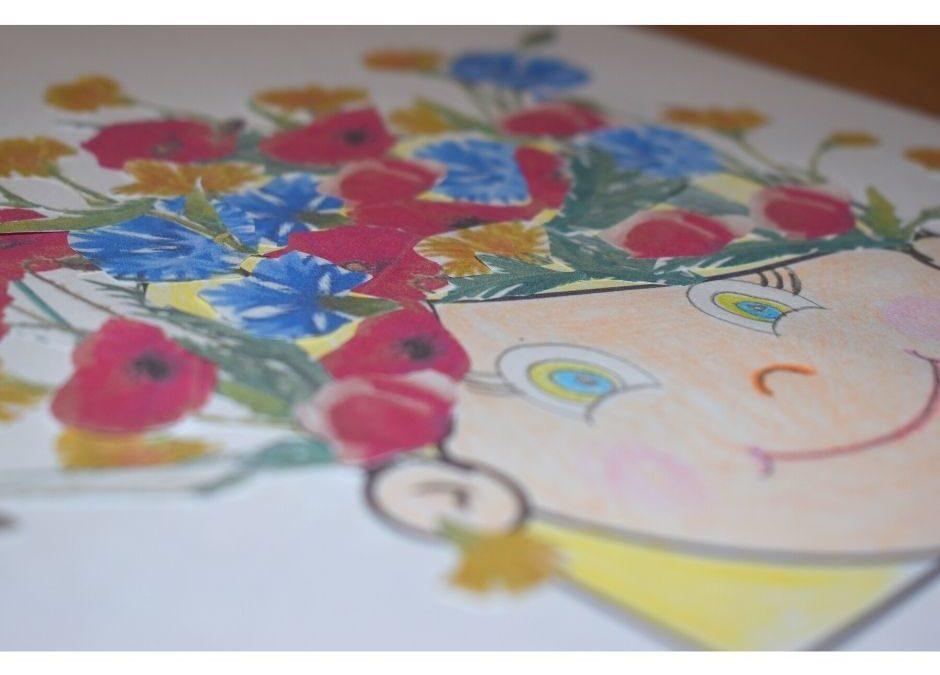 Polne kwiaty- praca plastyczna iszablon twarzy