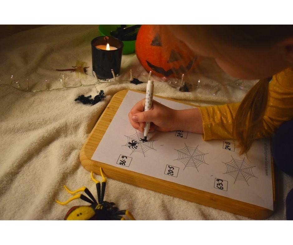 karty matematyczne przedszkole klasa pająk