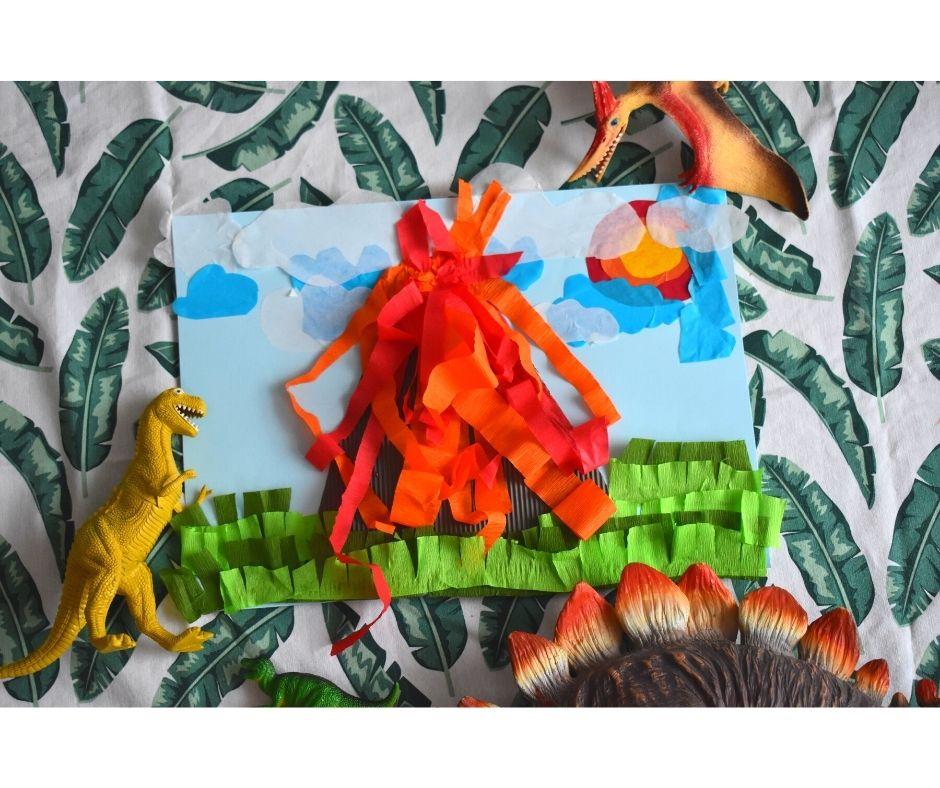wulkan dinozaury prace plastyczne