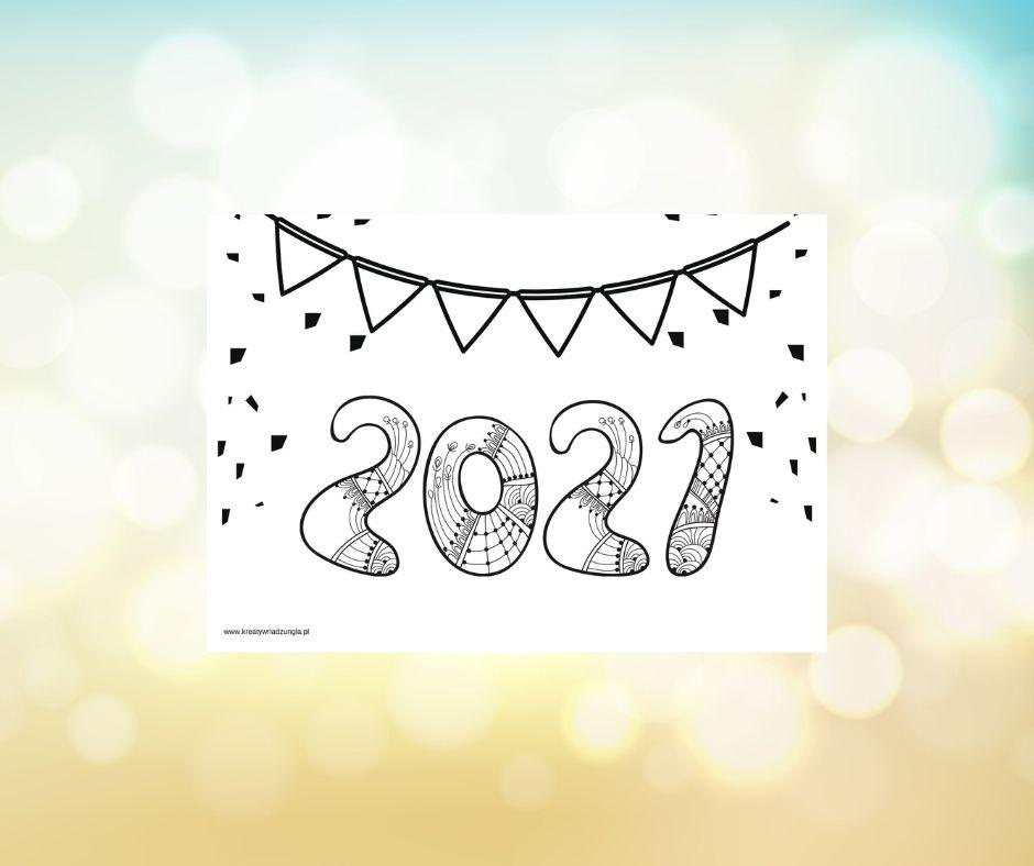 nowy rok 2021 kolorowanka
