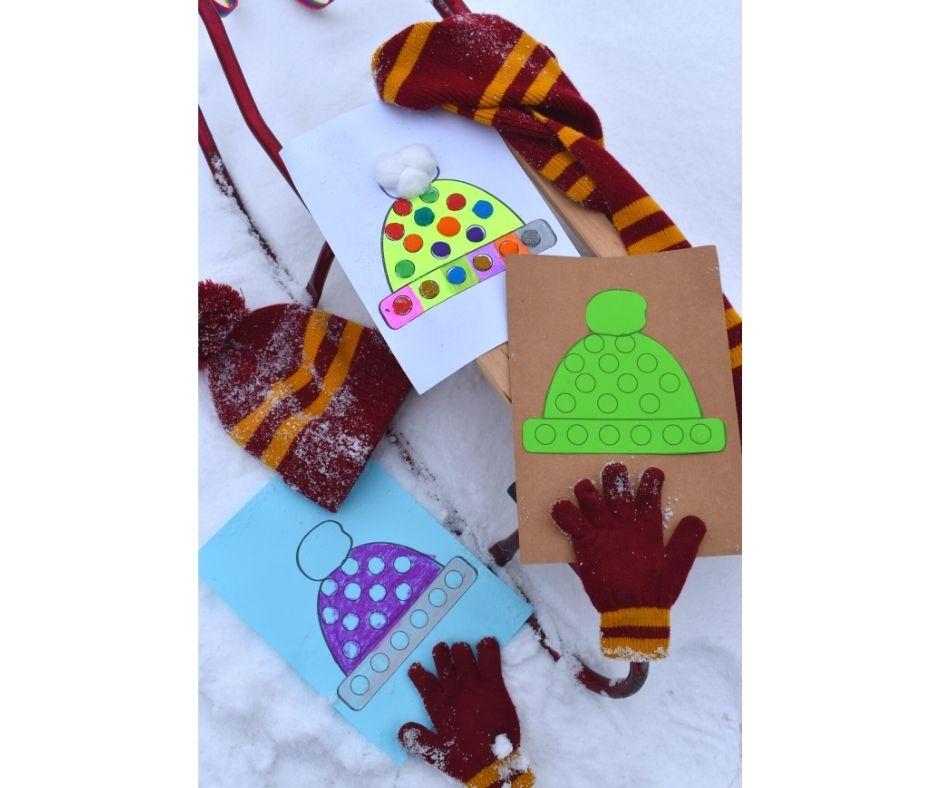 zima karty pracy zimowe ubrania wyklejania plasteliną
