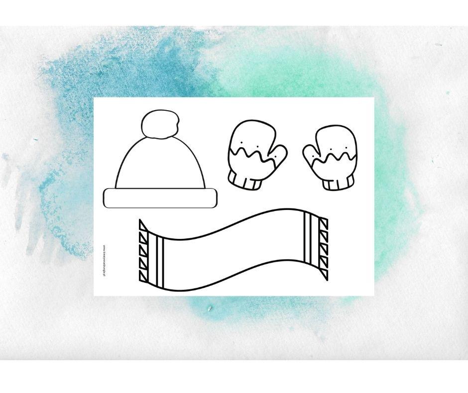 zima zimowe ubrania praca plastyczna karty pracy kolorowanka