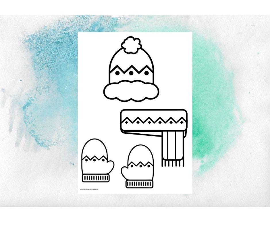 zimowe ubrania praca plastyczna, karta pracy