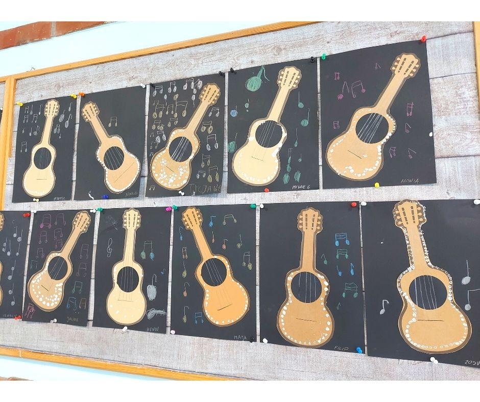 gitara praca plastyczna szablon instrumenty pomysły dla dzieci