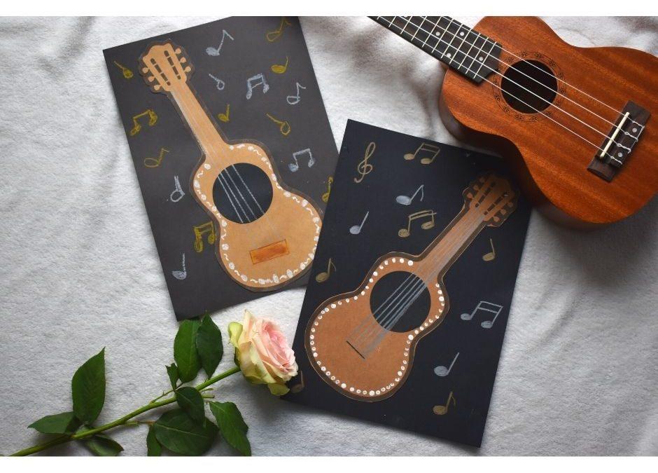 Gitara- praca plastyczna iszablon dodruku