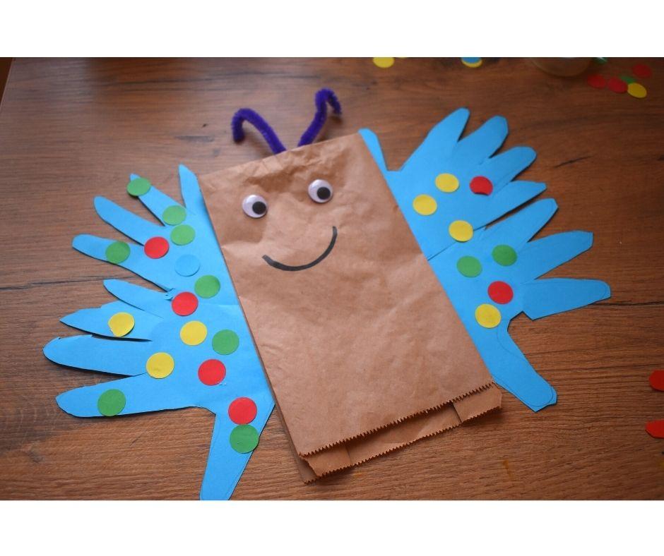 motyl przedszkole praca plastyczna wiosna pacynka
