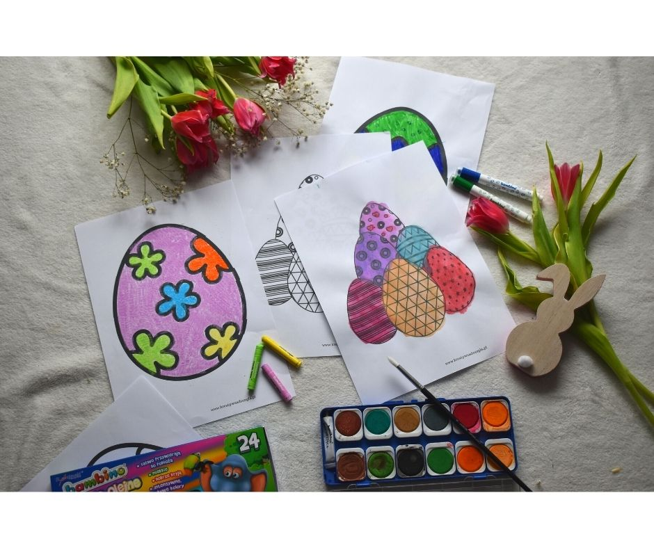 wielkanocne prace plastyczne kolorowanki