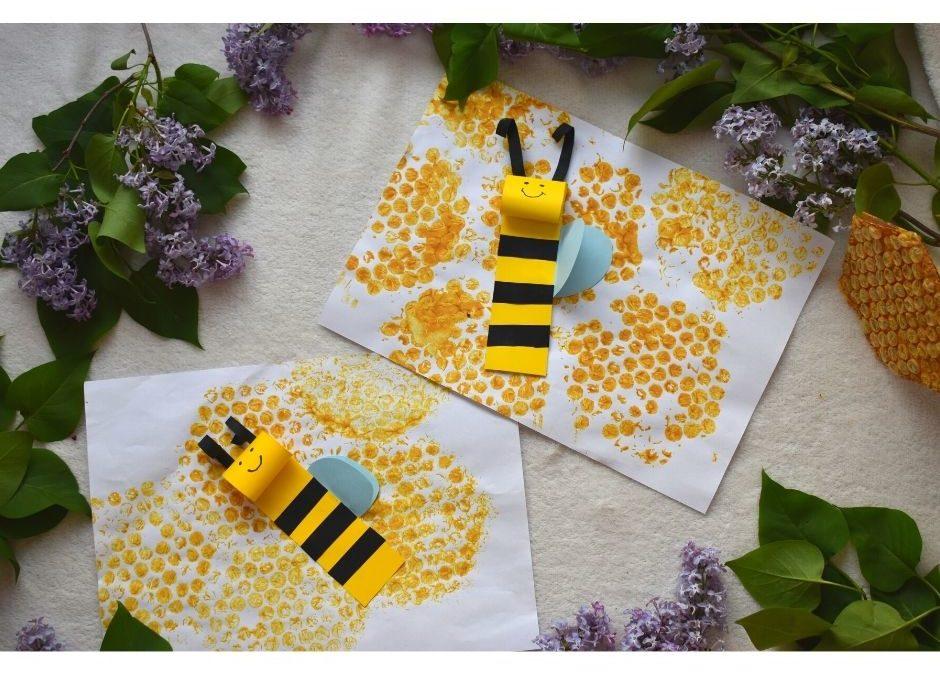 pszczoła praca plastyczna, pszczółka przedszkole, dzień pszczół pomysły dla dzieci