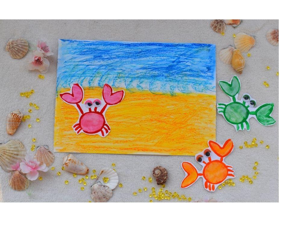 lato wakacje praca plastyczna kraby morze