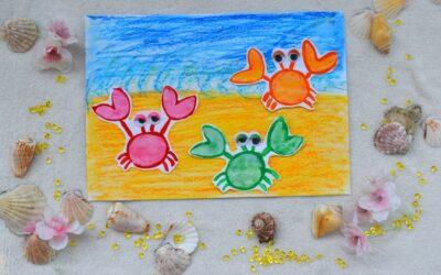 Kraby iplaża- praca plastyczna zwykorzystaniem farb orazpasteli