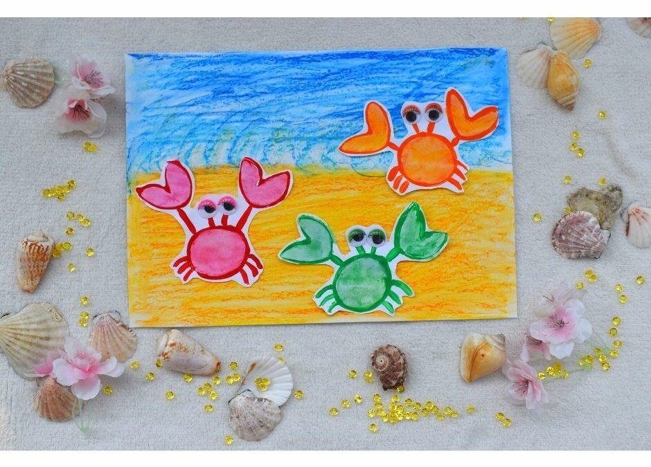 lato wakacje praca plastyczna kraby morze plaża