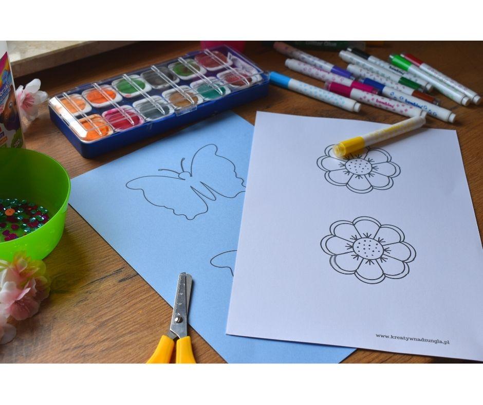 motyl szablon dodruku, kwiatek kwiaty szablon dodruku