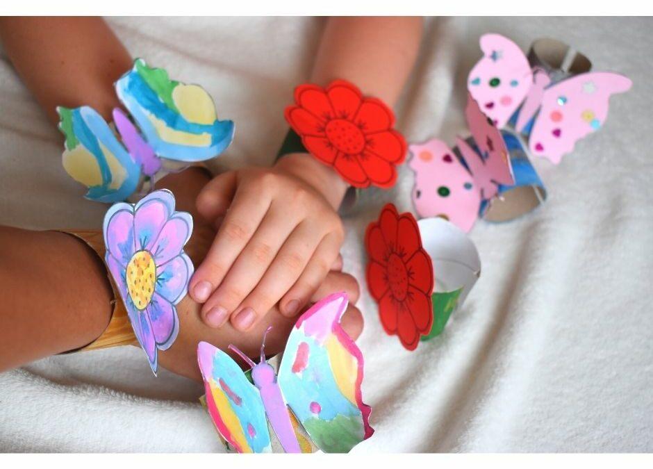 bransoletka z rolki, wiosna lato przedszkole, motyl kwiatek szablon do druku