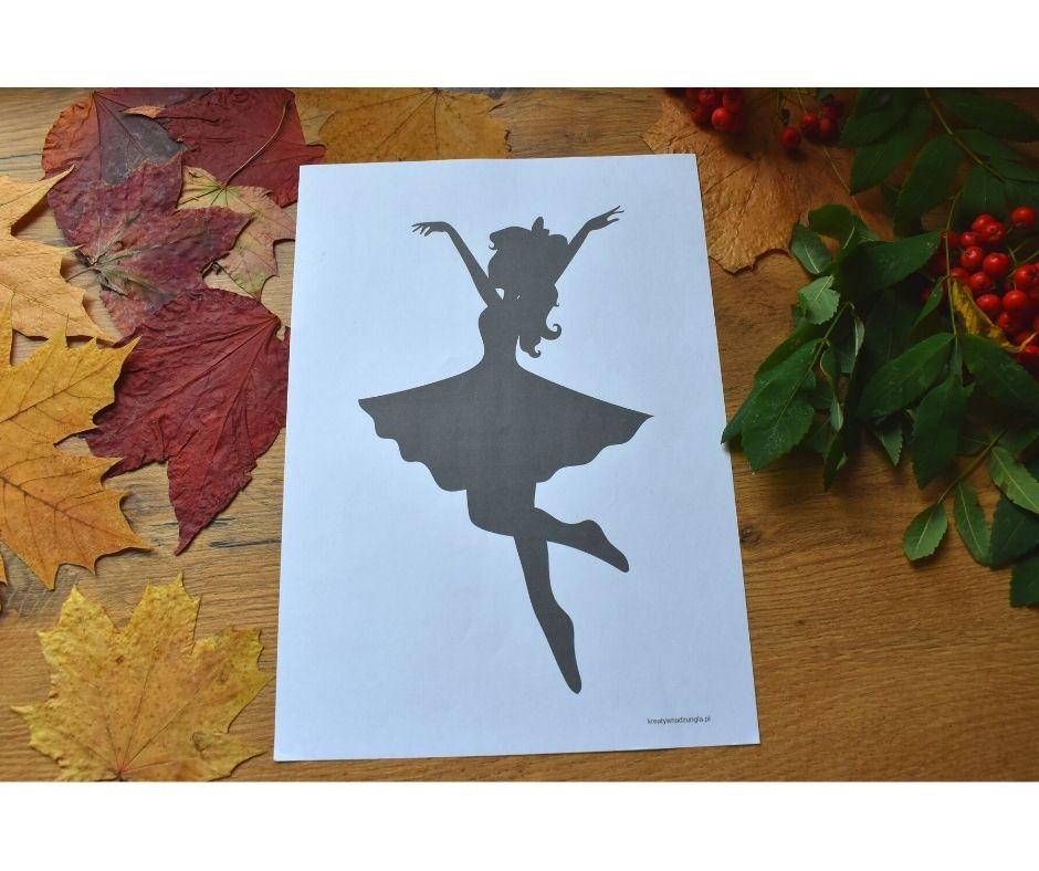 pani jesień praca plastyczna, szablon baletnica