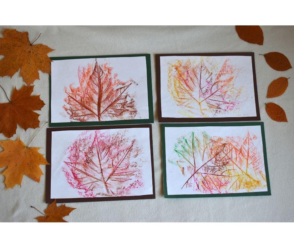 frotaż jesiennych liści, praca plastyczna