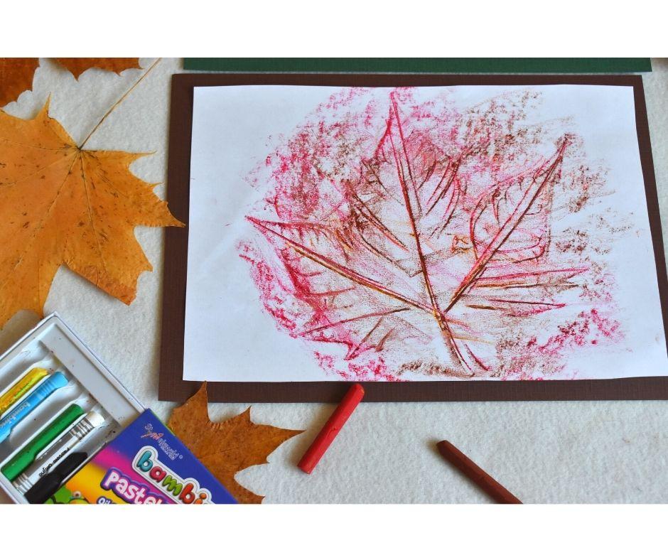 frotaż liści, jesień praca plastyczna