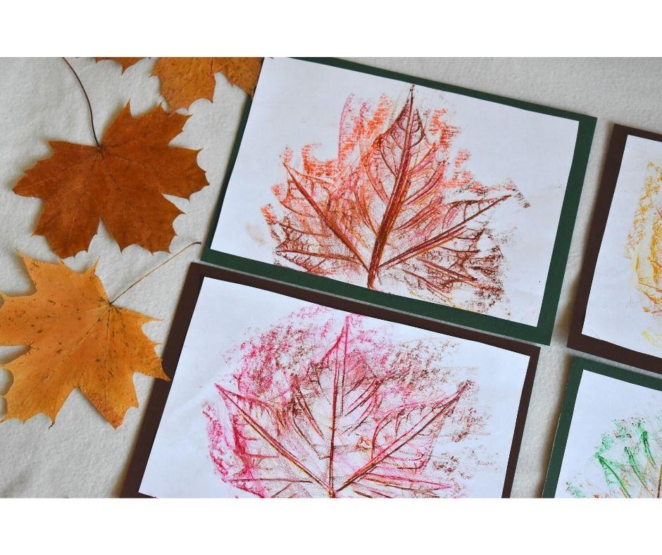 jesień praca plastyczna, frotaż liści